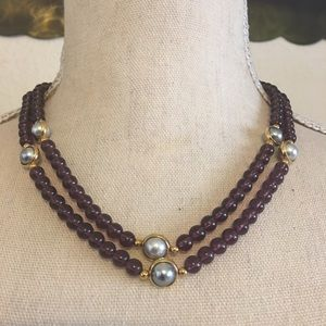 Vintage faux amethyst and pearl bead necklace